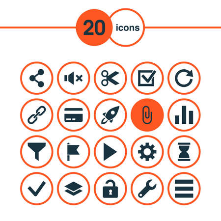 User icons set with cut, goal, list and other rocket   elements. Isolated vector illustration user icons. Ilustração