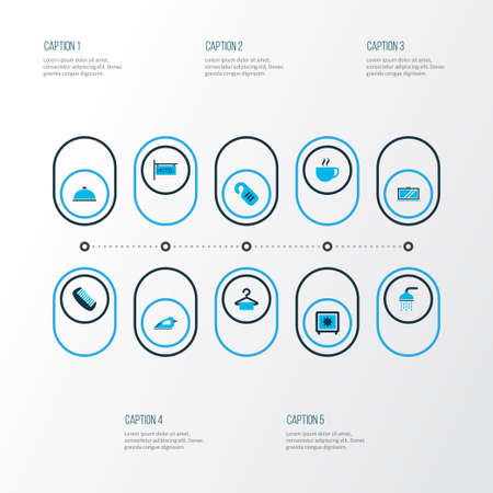 Hotel icons colored set with cup, safe, iron and other drink   elements. Isolated vector illustration hotel icons.