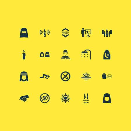 Icone di festa con persone, donna, islam e altri elementi di religione. Icone di vacanza illustrazione vettoriale isolato.