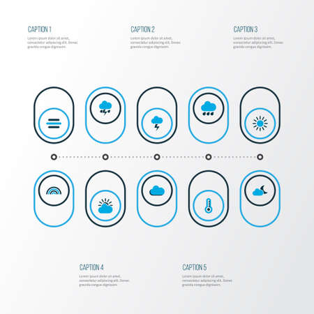 Air icons colored set with sun, stormy, cloud and other thermometer   elements. Isolated vector illustration air icons. Illustration
