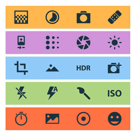 Picture icons set with landscape, blur, automatic picture   elements. Isolated vector illustration picture icons.