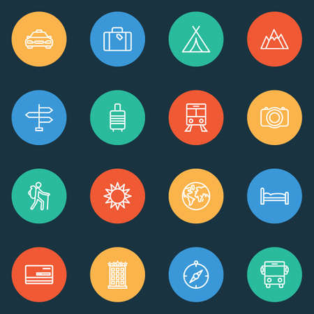Traveling icons line style set with planet, compass, valise and other luggage   elements. Isolated vector illustration traveling icons.