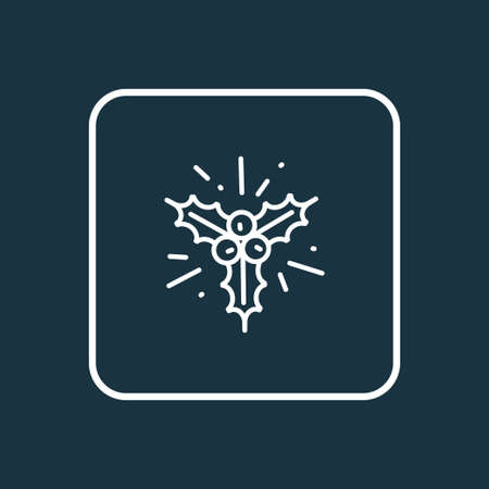 Holly icon line symbol. Premium quality isolated mistletoe element in trendy style.