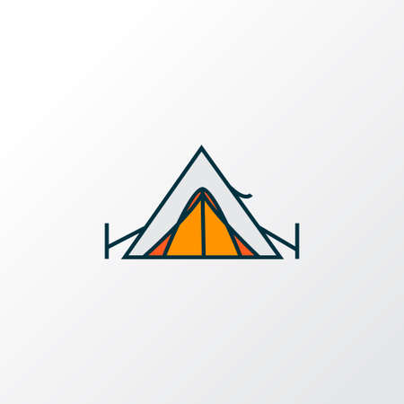 Tent icon colored line symbol. Premium quality isolated camp element in trendy style.