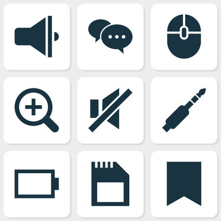 Media icons set with sound off, comment, magnifier and other audio   elements. Isolated vector illustration media icons. Ilustrace