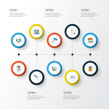 Camping icons colored line set with swiss knife, destination, sleeping bag and other pocket light   elements. Isolated vector illustration camping icons.