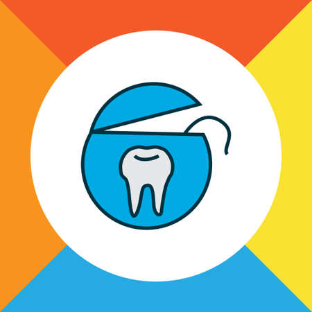 Tooth floss icon colored line symbol. Premium quality isolated dental rope element in trendy style. Illustration