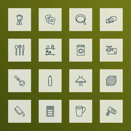 Cooking icons line style set with water bottle, spoon fork, bbq and other extractor   elements. Isolated vector illustration cooking icons.