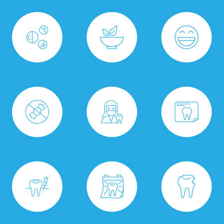 Enamel icons line style set with vitamins, no sweet, healthy food and other smiley emoticon   elements. Isolated vector illustration enamel icons. Illustration