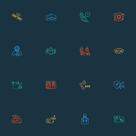 Airport icons line style set with airport shuttle, baggage insurance, oxygen mask and other respiratory   elements. Isolated vector illustration airport icons. Ilustrace