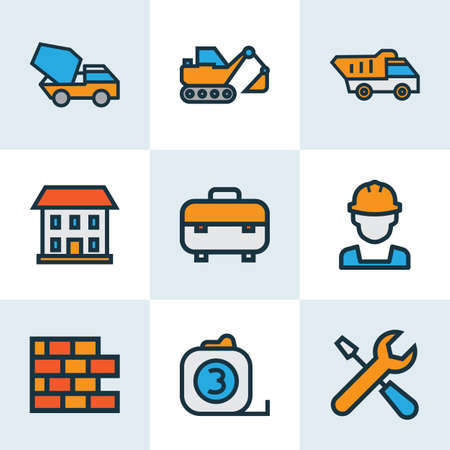 Industry icons colored line set with excavator, brickwork, toolbox and other roulette meter   elements. Isolated vector illustration industry icons.