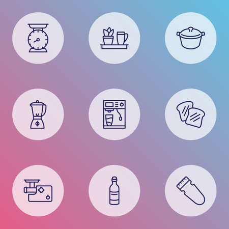 Cooking icons line style set with coffee machine, kitchen plant, toast bread and other saucepan   elements. Isolated vector illustration cooking icons.