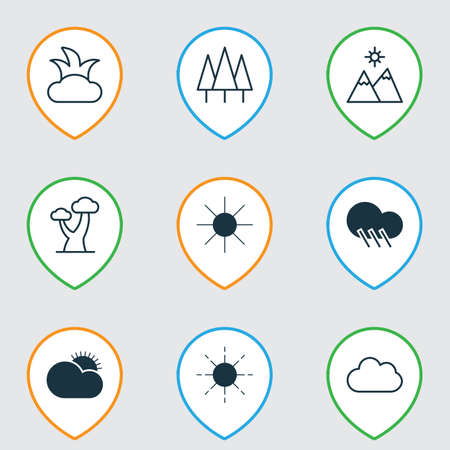 Landscape icons set with sunshine, wood, clear sunrise and other bush   elements. Isolated vector illustration landscape icons.