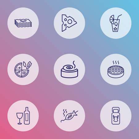 Nutrition icons line style set with vegetarian pizza, lasagna, grilled fish and other bun   elements. Isolated vector illustration nutrition icons.