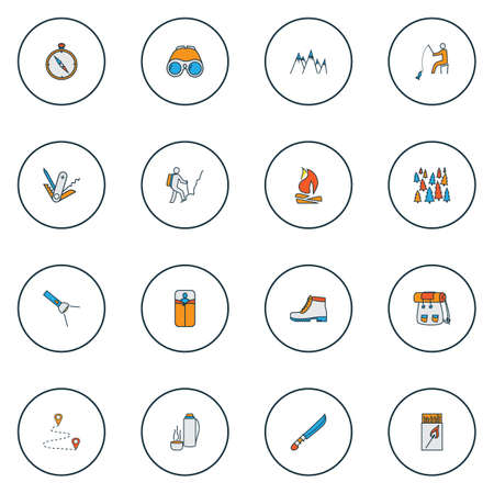 Camping icons colored line set with forest, mountains, hunting knife and other rucksack   elements. Isolated vector illustration camping icons. Çizim