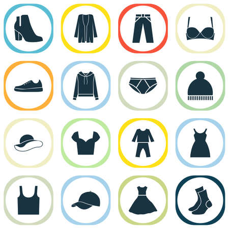 Garment icons set with gumshoes, sundress, baseball cap and other beanie   elements. Isolated vector illustration garment icons.