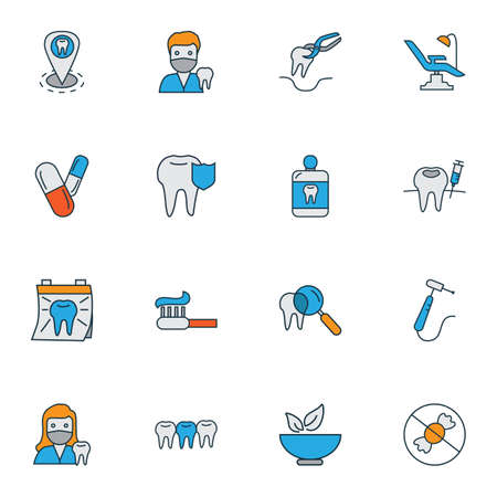 Dental icons colored line set with dentist woman, teeth, mouthwash and other tooth protection  elements. Isolated vector illustration dental icons. Standard-Bild - 124743145
