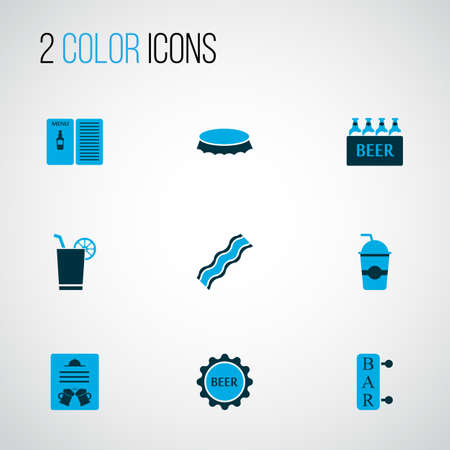 Beverages icons colored set with cocktail with lemon, bottle cap, menu and other poster   elements. Isolated vector illustration beverages icons. Illustration
