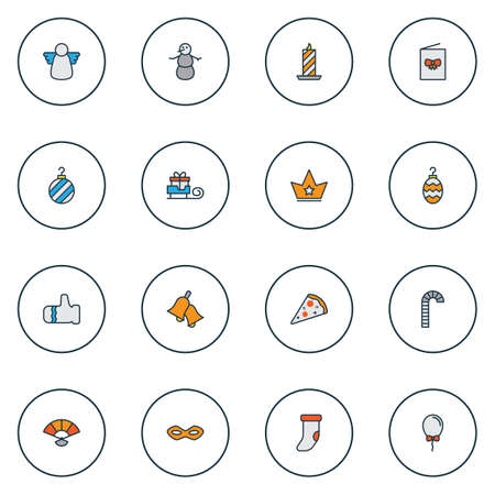 Christmas icons colored line set with paraffin, santa gift, postcard and other lollipop   elements. Isolated vector illustration christmas icons.
