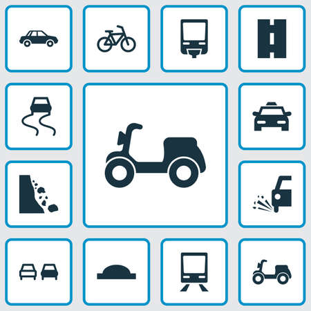 Transport icons set with falling rock, moped, slippery way and other bicycle