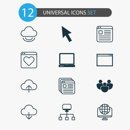 Web icons set with cloud, upload, cursor arrow and other bookmark   elements. Isolated vector illustration web icons.