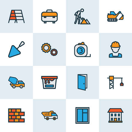 Architecture icons colored line set with tape measure, excavator, construction works and other builder   elements. Isolated vector illustration architecture icons.