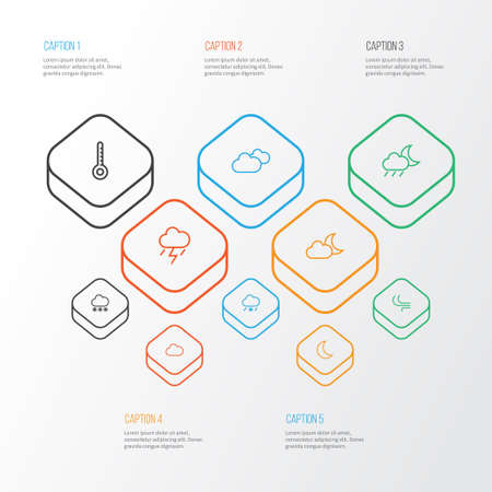 Weather icons line style set with thunderstorm, drizzle, fog and other snowy raining   elements. Isolated vector illustration weather icons.