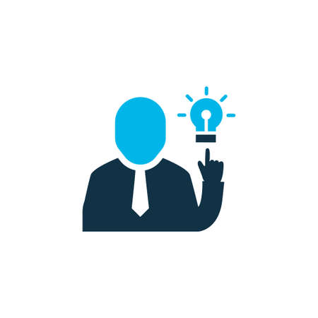 Brainstorming icon colored symbol. Premium quality isolated businessman element in trendy style.