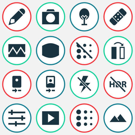 Image icons set with wide angle, nature, circle and other filtration
