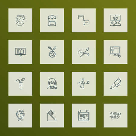 School icons line style set with astronomy, female teacher, calendar and other faq   elements. Isolated vector illustration school icons.