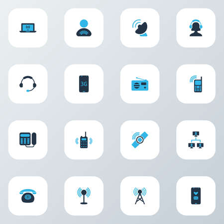 Connection icons colored set with walkie-talkie, fm, landing telephone computing system   elements. Isolated vector illustration connection icons.