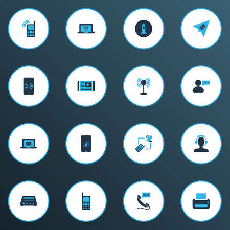 Telecommunication icons colored set with 24/7 access, messaging, mobile phone and other fm