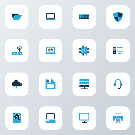 Computer icons colored set with diskette, PC, hard disk and other modem   elements. Isolated vector illustration computer icons.