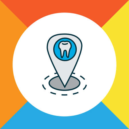 Dentist location icon colored line symbol. Premium quality isolated clinic element in trendy style.