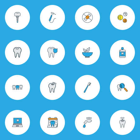 Enamel icons colored line set with mouthwash, vitamins, healthy food and other cavity  elements. Isolated vector illustration enamel icons. Stock Vector - 124717654