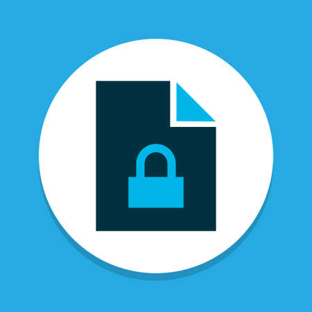 Locked file icon colored symbol. Premium quality isolated padlock element in trendy style.
