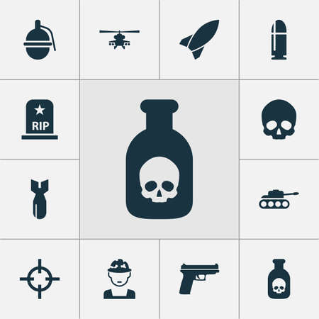 Combat icons set with poison, bomb, grave and other chopper   elements. Isolated vector illustration combat icons. Illustration