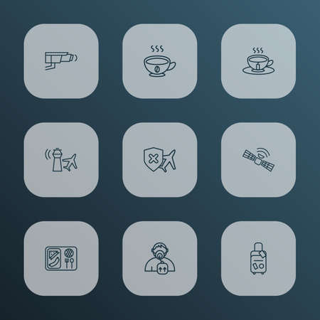 Transportation icons line style set with cancellation insurance, control tower, oxygen mask and other airport building   elements. Isolated vector illustration transportation icons. Illustration