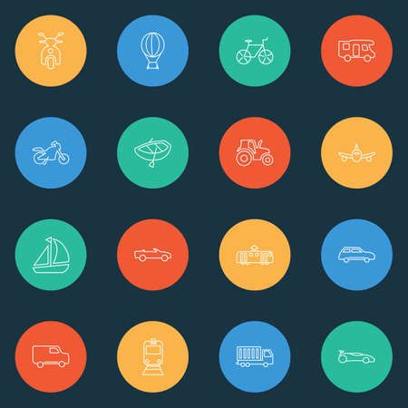 Transport icons line style set with truck, ship, tractor and other moped   elements. Isolated vector illustration transport icons. Ilustração