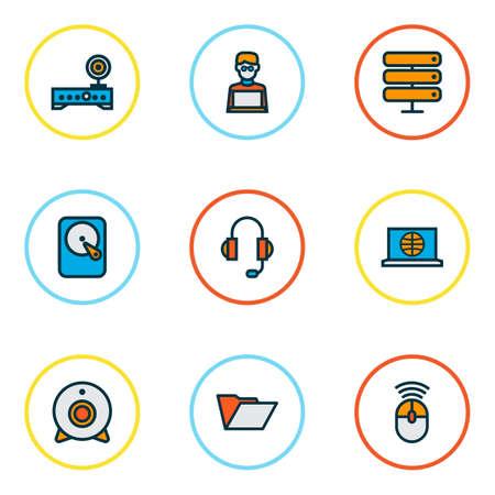 Computersymbole farbige Linie mit Kopfhörern, Internet, Festplatte und anderen Kameraelementen. Isolierte Illustration Computersymbole.