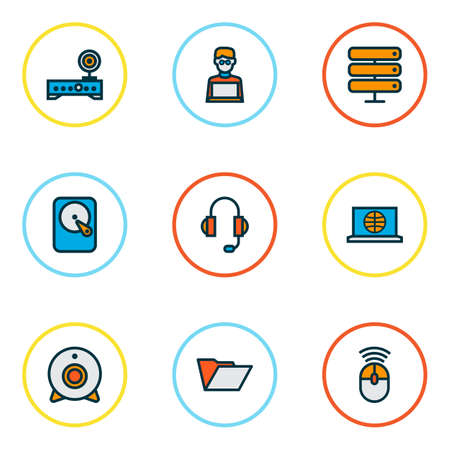 Línea de color de iconos de computadora con auriculares, internet, disco duro y otros elementos de la cámara. Iconos de equipo de ilustración aislada.