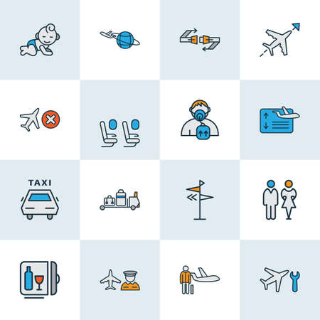 Travel icons colored line set with direction, airport worker, flight board and other passenger protection