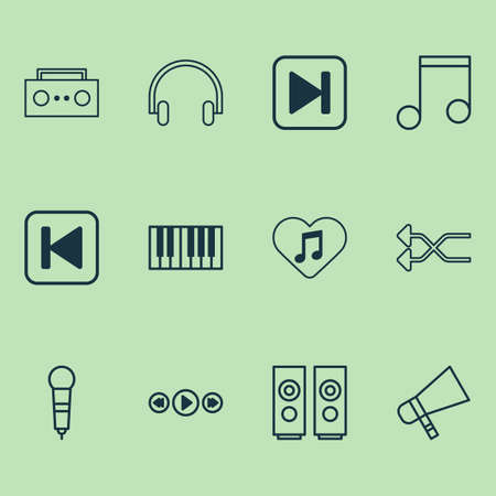 Music icons set with favorite tune, shuffle, song UI and other broadcast   elements. Isolated vector illustration music icons.