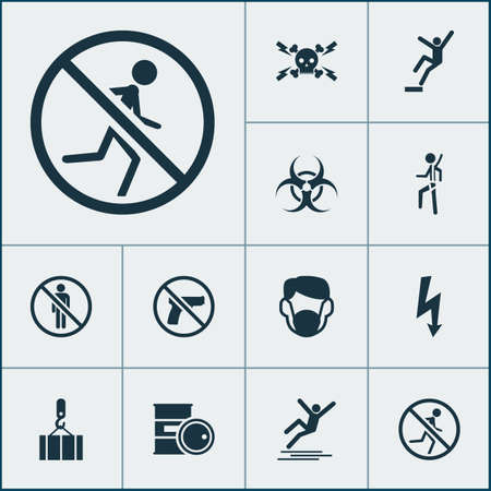 Sign icons set with not running, stop, risk and other safety harness