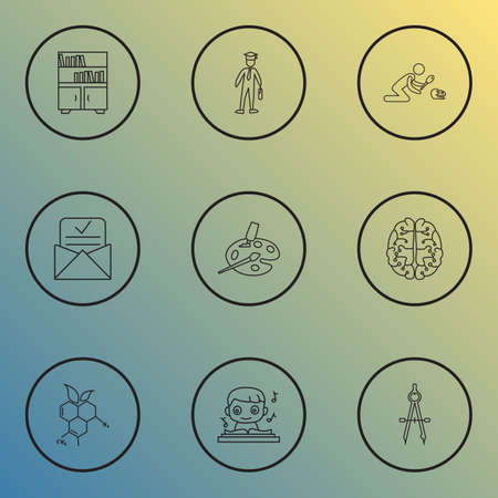 School icons line style set with art, compass, music and other divider   elements. Isolated vector illustration school icons.
