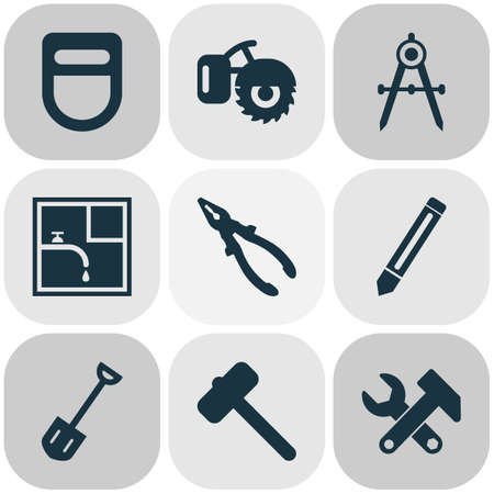 Industrial icons set with pliers, instruments, hammer for tiles and other mallet