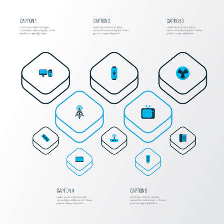 Hardware icons colored set with telephone, modem, fan and other cooler   elements. Isolated vector illustration hardware icons.