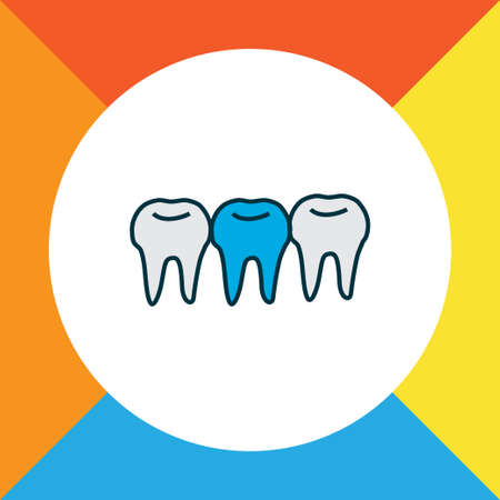 Teeth icon colored line symbol. Premium quality isolated denture element in trendy style.