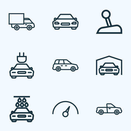 Car icons line style set with speedometer, crossover, truck and other washing   elements. Isolated vector illustration car icons.