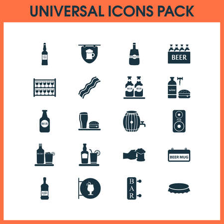 Alcohol icons set with beer in hand, stand with glasses, column brewery   elements. Isolated vector illustration alcohol icons.